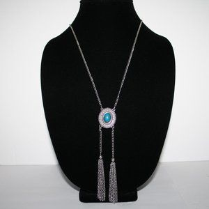 Long vintage silver and turquoise necklace